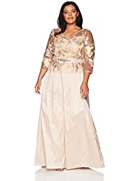 Women's Plus Size Floral Embroidered Long Dress With Taffeta Skirt