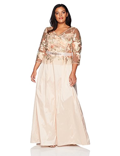 Embroidered Taffeta Evening Gown - Adrianna Papell Women's Plus Size Floral Embroidered Long Dress with Taffeta Skirt, Pale Peach Multi, 14W