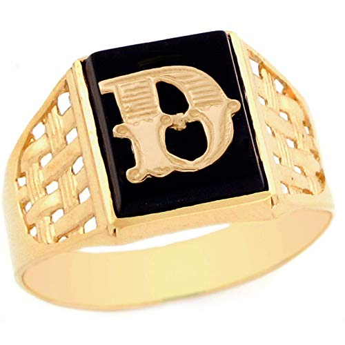 10k Yellow Gold Bold Black Onyx Mens Elegant Basket Weave Initial Letter D Ring - Size 10.5