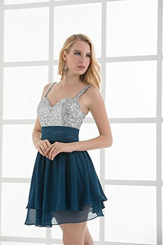 GEORGE kurzes Bling Buegel Bling BRIDE tiefen Spaghetti Kleid Ozean Cocktail Chiffon wqwZ0