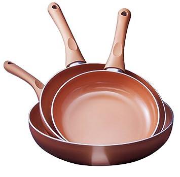 SANTA LUCIA Juego de Sarténes de 3pcs Revestimiento Cerámico de Cobre/Bronze 20/22/24cm (22/24/26cm): Amazon.es: Hogar