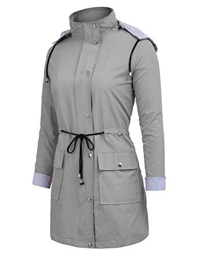 Donna Outdoor Impermeabili Giacca Unbrand Active Long Style Antipioggia Con Cappuccio Trench Da gray 5wZqXCXd