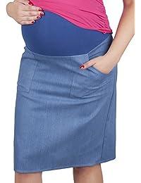 0bd9997070d01 Mija – Maternity Pregnancy Denim Skirt with Soft Jersey Panel 3047