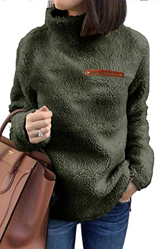 onlypuff Military Green Sherpa Sweaters for Women Pullover Warm Tops Fuzzy Shirt Medium - Green Sherpa
