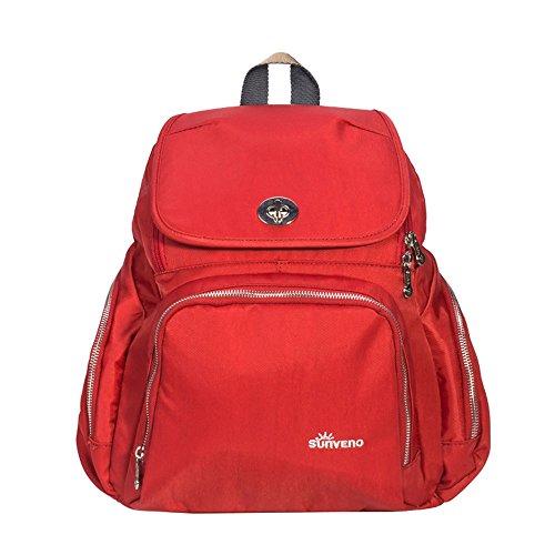 Bolso de la momia, bolso de múltiples funciones de la mamá de gran capacidad, bolso de la madre de los hombros, va el morral, bolso de la madre de la manera ( Color : Verde ) Rojo
