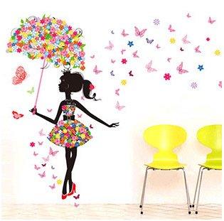 Mode Fille moderne papillon autocollant mural Creative Stickers ...