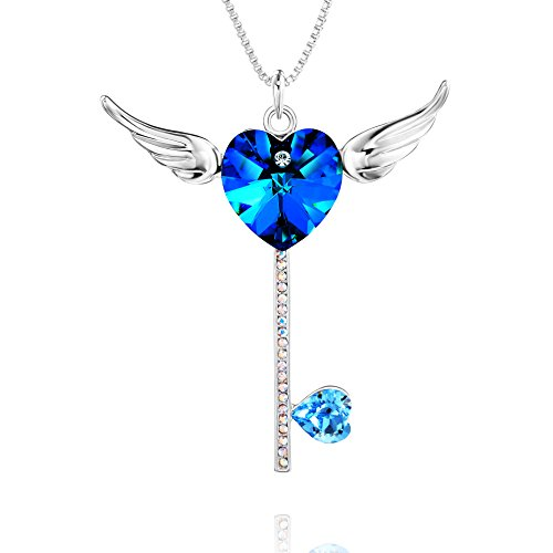 Crystal Key Necklace (Special Outlook Wings and Cross Pendant Necklace Women Necklace with SWAROVSKI Crystal, Fashion Gemstone Pendant Ideal Gift for Mother's Day Valentine's Day Birthday)