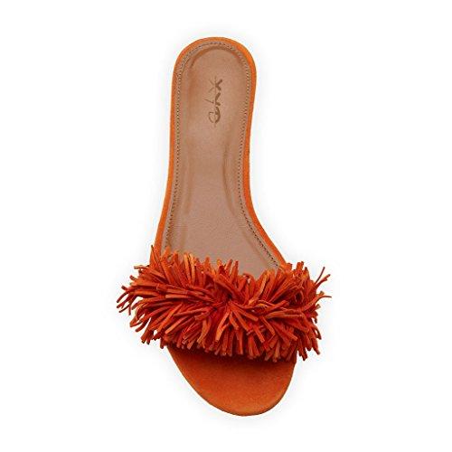 Slip Slide Summer Walking Easy On Fringe Sandals Solid Women Orange Slippers XYD Loafer Comfortable Shoes xqIpWAqn