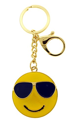 Gold-Tone Smiling Face With Sunglasses Emoji Keychain KEKC6239