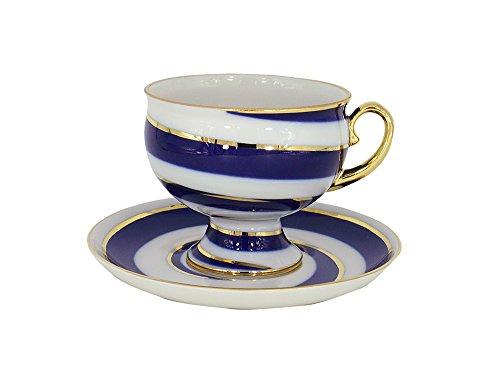 Lomonosov Porcelain Tea Set 2pc Cup and Saucer Twisted Loop