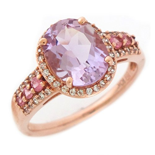 Cut Pink Amethyst Ring (10k Rose Gold Real Amethyst Pink Tourmaline and White Sapphire Ladies Halo Ring)