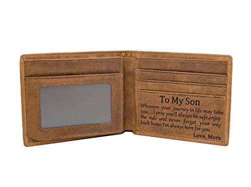 Mom Son Wallet - Engraved Leather Men Wallet-The Perfect Personalized Son Gift From Mom And Dad (Wallets-For Son From Mom)