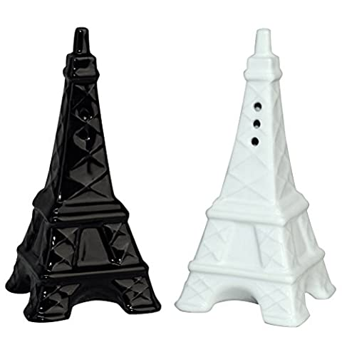 Paris Eiffel Tower Salt and Pepper Shakers - Set/2 White and Black - Pepper Tower