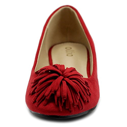 Ollio Womens Shoe Faux Suede Flower Ribbon Ballet Flat Red gCbyqkqnHc