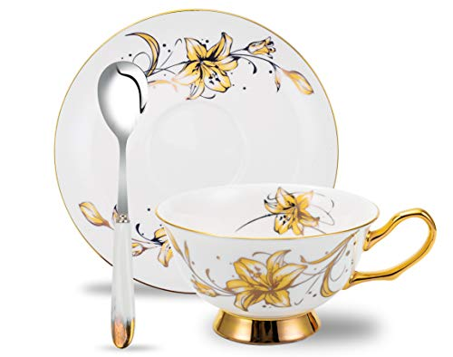 Bone China Teacup and Saucer Set with Spoon,3 Piece,200 mL/6.8 oz,Gift For Friends or Family,Golden ()