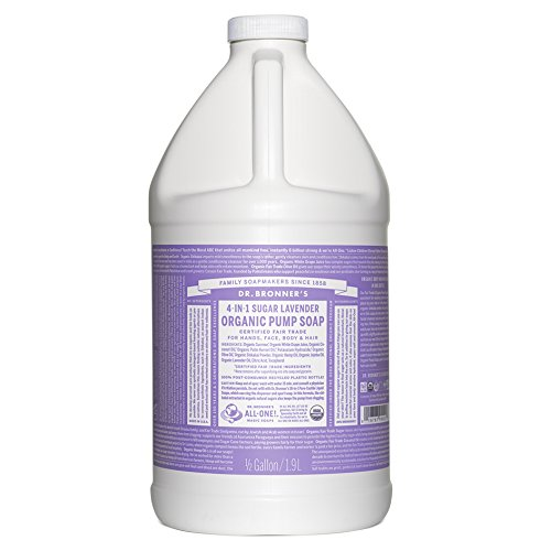 Dr. Bronner's Organic Lavender Sugar Soap. 4-in-1 Organic Pump Soap for Home and Body (64 Oz).
