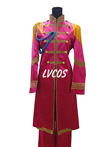 (LVCOS SGT. Pepper's Lonely Hearts Club Band Ringo Starr Pink Halloween Long Coat Set Cosplay Costume)
