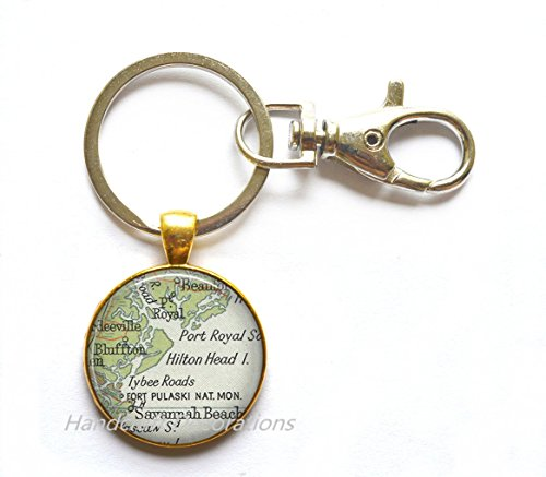 (Charming Keychain,Hilton Head Island, South Carolina map Key Ring, Hilton Head map Keychain, Hilton Head map Key)