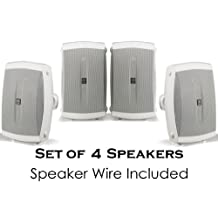 "Yamaha All Weather Indoor & Outdoor Wall Mountable Natural Sound 120 watt 2-way Acoustic Suspension Speakers (Set of 4) White with 5"" High Compliance Woofer, 1/2"" PEI Dome Tweeter & Wide Frequency Response + 100 ft 16 Gauge Speaker Wire - Compatible with All Audio / Video Receivers, Components, CD Players & Home Theater Sound Systems"