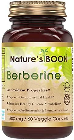 Nature s Boon Berberine 600 Mg 60 Veggie Caps – Glass Bottle – Supports Immune System – Supports Glucose Metabolism – Aid in Healthy Weight Management – Non GMO, Vegan, Glutan Free.