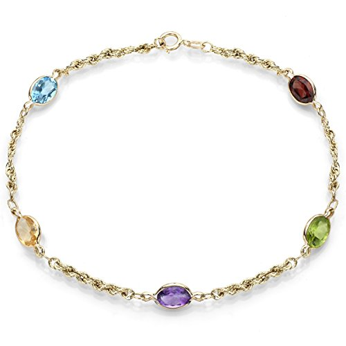 5mm Round Multi Stone Pendant - 14k Yellow Gold with 5mm Oval Shape Multi-color Simulated Gemstones Bracelet, 7.5