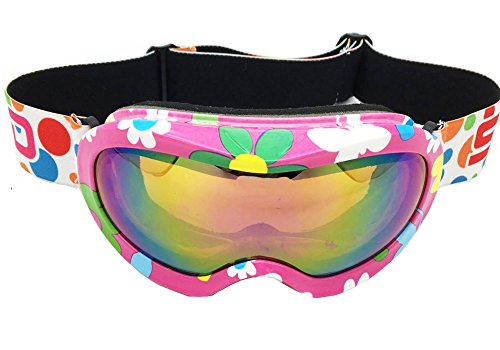 BeBeFun Ski Goggles Glasses for Toddler and Kids with Double Lens Anti-Fog for Girl Pink and Boy Age 3-9 fit Over Glasses and Helmet Pink (Best Toddler Ski Helmet)