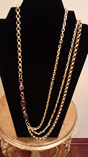 Royale Amethyst Oval Beads and Gold Chains Necklace