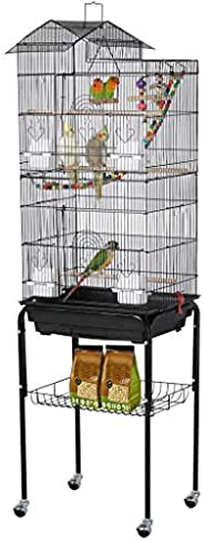 Yaheetech Roof Top Metal Parakeet Flight Bird Cages for Cockatiels Conures Sun Parakeets Lovebirds Finches Can