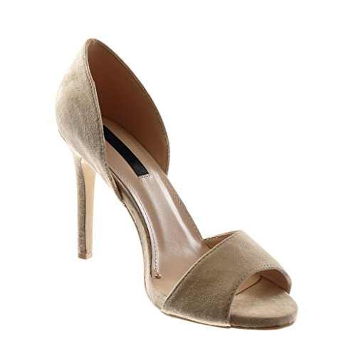 Tacco Peep Decollete Beige Moda Slip Toe CM 10 Sandali Donna on Stiletto Angkorly Stiletto Scarpe Scarpe Alto Pawt5qn8x
