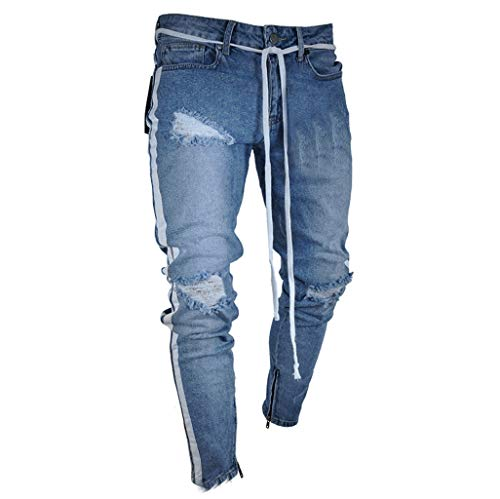 iHPH7 Jeans Pants Men Skinny Slim Fit Ripped Distressed Stretch Jeans Pants Mens Fashion Skinny Jeans Distressed Slim Elastic Jeans Denim Biker Jeans M Blue - Glory Black Motorcycle Boots