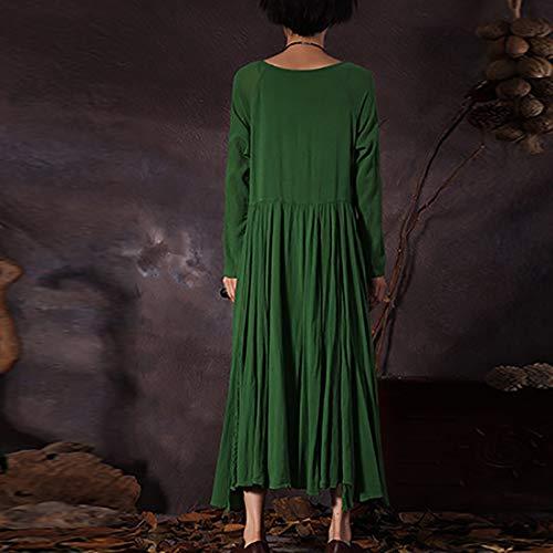 Tasche Unita Maniche Lishihuan Lunghe A Donna Vestito Green Con Maxi Tinta Vintage Irregolare Da qwfw78WRI
