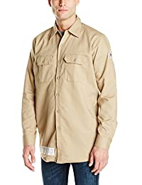 Bulwark Flame Resistant 7 oz Cotton/Nylon Excel FR ComforTouch Regular Work Shirt with Sleeve Vents, Lined Cuff, Khaki, Large