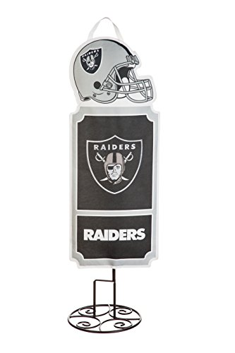 (Team Sports America Oakland Raiders NFL Single-Sided Textile Statement Stake Kit with Metal Pole and Ground Stake - 14.5