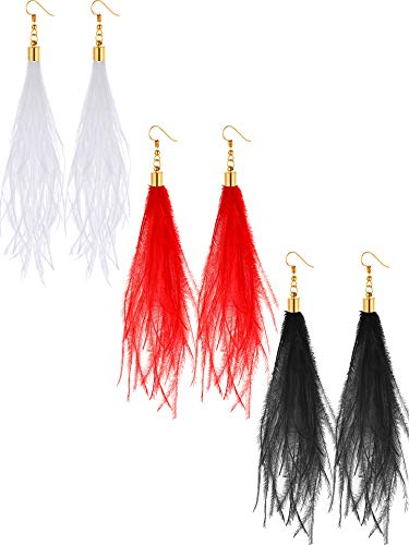 Tatuo 3 Pairs Bohemia Feather Earrings Long Dangle Tassel Earrings Women Girls Fluffy Ear Jewelry for Outfits Party Accessory ()