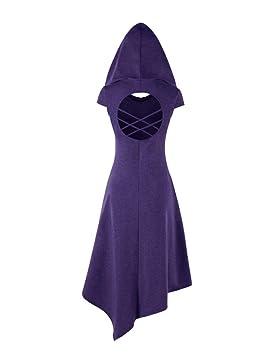 Vestido Túnica con Capucha Medieval Gotico Vestidos Casual para Mujeres Púrpura S