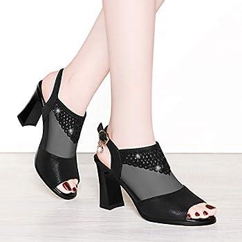 Women Summer Casual Peep Toe Heeled Sandals Mesh See Through