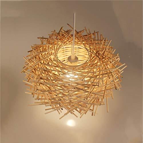 HZC Bird's nest Chandelier Pendant Light Natural Rattan Weave Hanging Light Retro Vintage Ceiling Lighting Fixture for Living Room Bedroom Restaurant Cafe Bar Dining Club (Color : B, Size : 30CM)