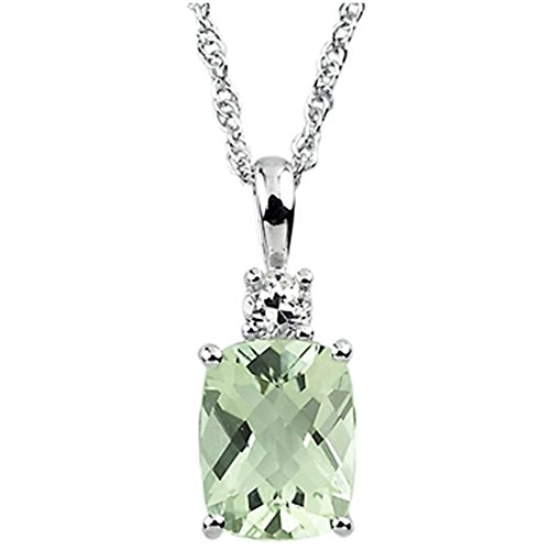 - Finejewelers 9x7mm Rectangular Cushion Green Quartz and White Topaz Pendant Necklace Sterling Silver