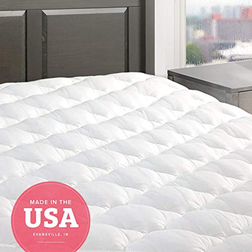 eLuxurySupply Five Star Mattress Pad - Premium Extra Plush Mattress Topper w/Fitted Skirt - Down Alternative Pillow Top Mattress Cover Made in The USA Fits Mattresses Up to 18