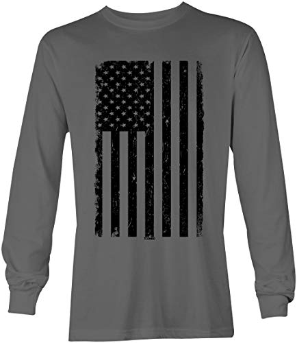 (Distressed Black USA Flag - United States Unisex Long Sleeve Shirt (Charcoal,)