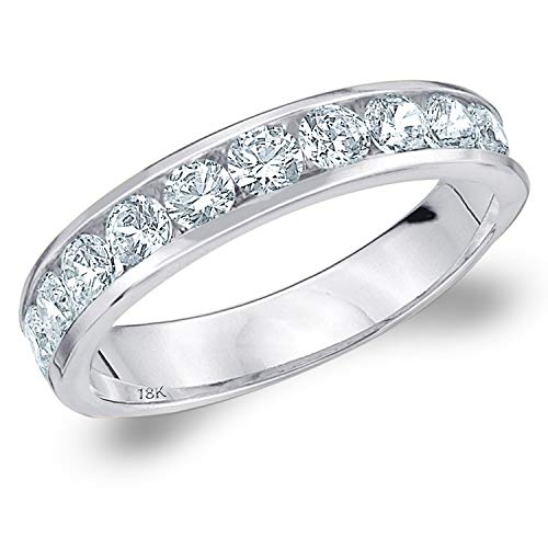 18k Gold Diamond Eternity Ring - 1CT Symphony Channel Set Diamond Anniversary Ring in 18K White Gold - Finger Size 7 (Color H-I, Clarity I1-I2)