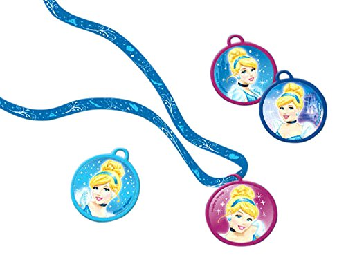 Collar con colgante de Cenicienta de Disney, accesorio de fiesta de cumpleaños (12 unidades), azul/rosa, 15 cm, 72 pieces