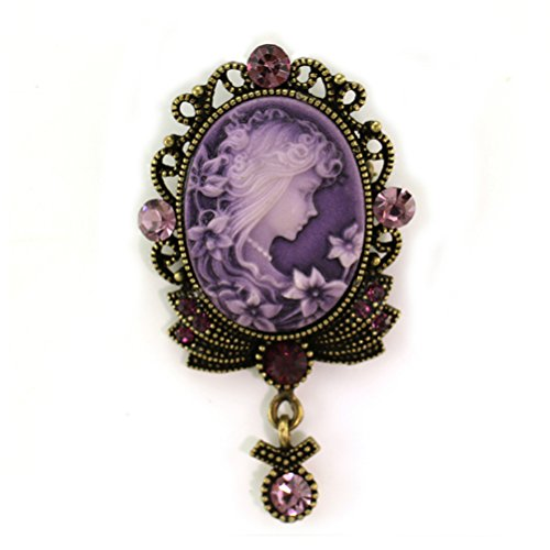 Lavender Violet Purple Cameo Brooch Pin Charm Rhinestones Necklace Pendant Compatible