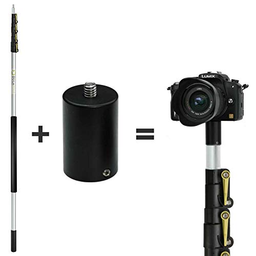DocaPole 24 Foot Camera Pole – 6-24 ft Extension Pole + ClickSnap Camera Adapter for GoPro, Camera or Video Camera | Provides up to 30 Feet of Reach | Painters Pole Camera Adapter