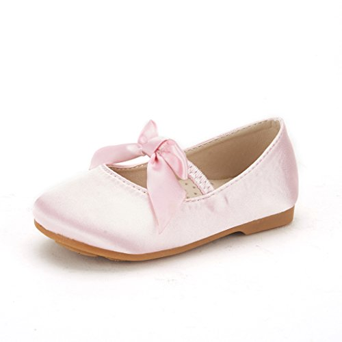DREAM PAIRS SOPHIA-22 Adorables Mary Jane Front Bow Elastic Strap Ballerina Flat Toddler New Pink Size 5