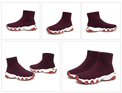 Calcetines Suéter Cómodo Inferior Botas Lucdespo Zapatos Deportes Deportivos Calcetines Zapatos de Punto Calcetines Cortas Burdeos Botas Colegio Cómodo Señoras Casuales Otoño Invierno vqAAFBxw