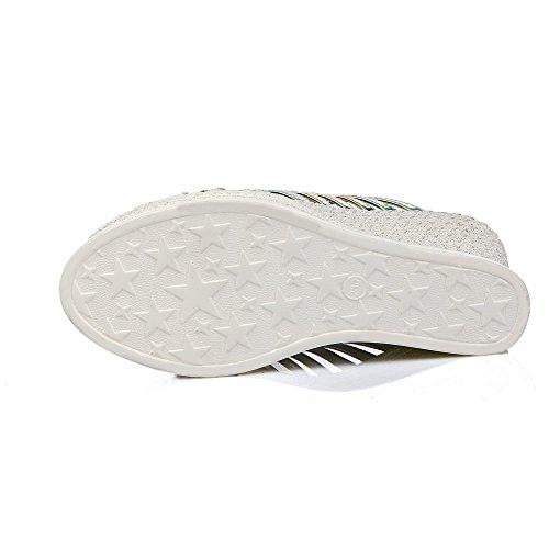 Pull Pantoufles bout solides pour femmes talons hauts à ouvert Argent à AllhqFashion HqdYwUw