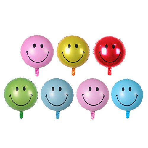 Zebratown 50pcs Foil Party Balloons 18 Inch Round Smiley Aluminum Balloon Birthday Festival Party Decoration Mix Colors