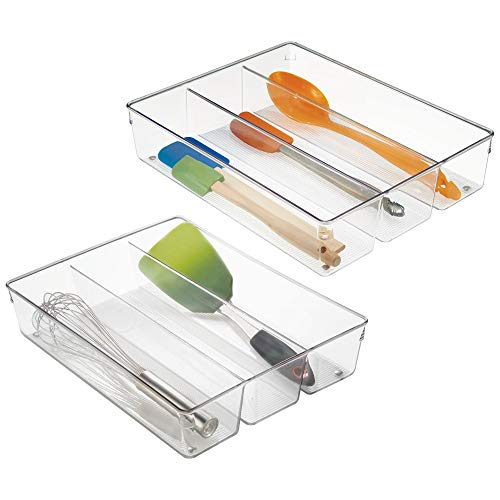 mDesign 3 Compartment Kitchen Cabinet Drawer Organizer Tray with Non-Skid Feet - Divided Sections for Cutlery, Serving Spoons, Cooking Utensils, Gadgets, BPA Free, Food Safe, 3 Deep, Pack of 2, Clear