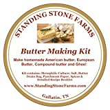 Standing Stone Farms Butter Making Kit - American, French & Irish Butter plus Compound Butter Recipes